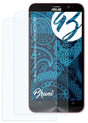Bruni Schutzfolie kompatibel mit Asus ZenFone 2 Deluxe ZE550ML/551ML Folie, glasklare Bildschirmschutzfolie (2X)
