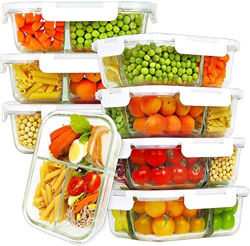 Bayco 8 Pack Glass Meal Prep Containers 3 Compartment Glass Food Storage Containers with Lids product image