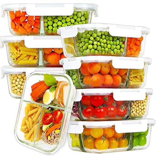 Bayco 8 Pack Glass Meal Prep Containers 3 Compartment, Glass Food Storage Containers with Lids, Airtight Glass Lunch Bento Boxes, BPA-Free & Leak Proof (8 lids & 8 Containers) - White