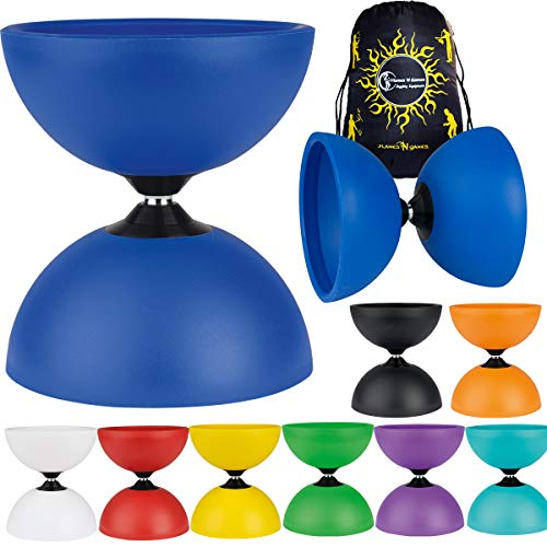 Henrys Circus Large Diabolo + Travel Bag! Wide Fixed-Axle Spinning Diablo for Intermediate and Experts!No handsticks Included (Turquoise)