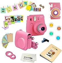 Fujifilm Instax Mini 9 Camera + 14 PC Instax Accessories kit Bundle, Includes; Instax Case + Album + Frames & Stickers + Lens Filters + More (Flamingo Pink)