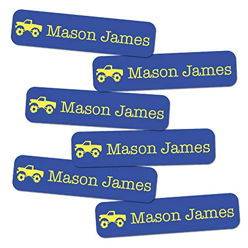 Custom Small Boy Icon Name Labels (68 ct.) - Stick-On & Waterproof (Truck)