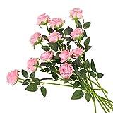 Kisflower 12 Unids Rosas Flores Artificiales Realista Flores de Tallo Único Ramo de Seda Rosa para Fiesta de Boda Oficina Decoración para el hogar (Rosa)