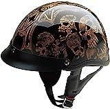 HCI Gold and Black Screaming Skulls Half Helmet w/Visor ABS Shell 100-106 (XL)