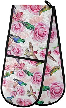 Aslsiy Roses Magnolia Birds Hummingbird Double Oven Mitt 7 X 35 Inches Spring Pink Flowers Floral product image