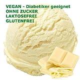 1 Kg Weiße Schokolade Geschmack Eispulver VEGAN - OHNE ZUCKER - LAKTOSEFREI - GLUTENFREI - FETTARM, auch für Diabetiker Milcheis Softeispulver Speiseeispulver Gino Gelati