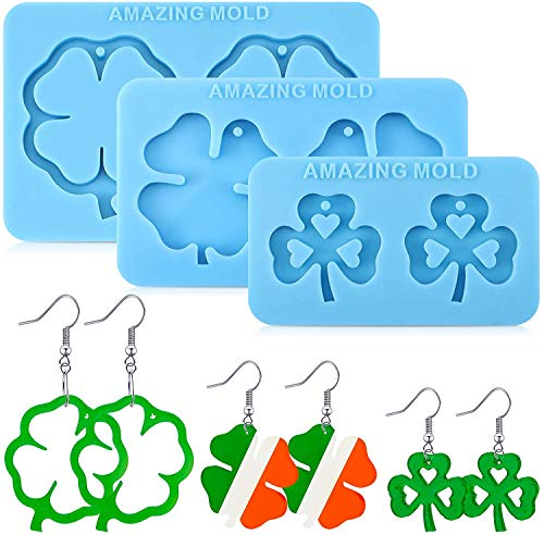 JOERRES Clover a forma di quadrifoglio, in resina di silicone 3D, per gioielli fai da te, gioielli fai da te, orecchini pendenti, collana