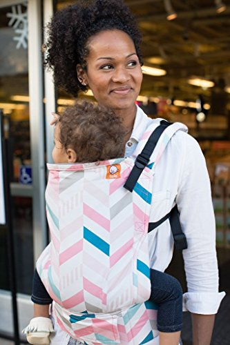 Baby Tula Multi-Position, Ergonomic Baby Carrier, Front and Back Carry for 15 – 45 pounds – Pixie (Pink, Blue, and Gray Chevron)
