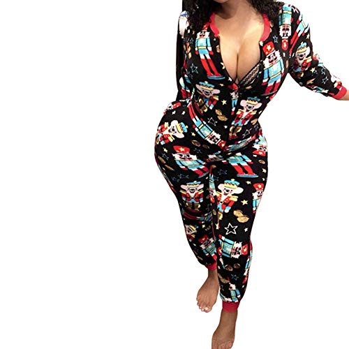 FULA-bao Women Christmas Jumpsuit Pajamas Sexy V Neck Zip Up Closure Cartoon Letter Print Romper Sleepwear Nightwear (Black, L)