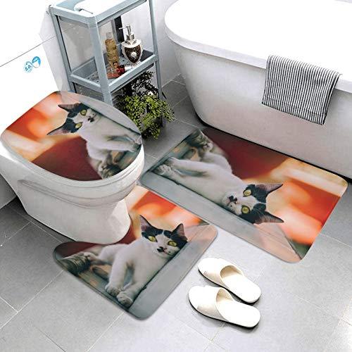 SDINAZ Alfombrillas de baño Set 3 Piezas Antideslizantes Lavables Alfombras de baño Moquetas Gato