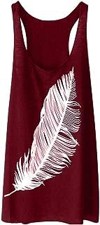 BODOAO Women's Feather Print Long Vest Sleeveless Shirt Fashion Loose Tank Tops