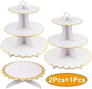 8 x 6 x 6cm X-BLTU 15pcs Mini Platos de Caramelo Soporte de la Torta Mini Cake Stand Chocolate Cupcake Candy Display Plat con Tapa para cumplea/ños Suministros para Fiesta de Bodas Base Dorada