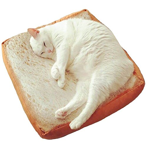 FIXWHAT Creative Toast Bread Pet Cat Bed Mattress Soft Cushion Seat Pad for Cats & Dogs Sleeping Playing Resting (15.7''x15.7''x2.6'')