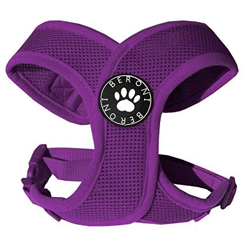 Softgeschirr Hundegeschirr Brustgeschirr XCross weich gepolstert verstellbar für kleine Hunde bis Mops Beere Mesh (M: (Brustumfang 40-51cm))
