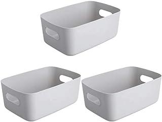 Lpiotyucwh Paniers et Boîtes De Rangement, 3 morceaux de boîte de rangement robuste et durable de bureau, plastique petit ...