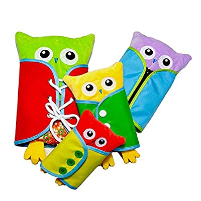 Extpro Learn to Dress Owl Doll Toys for Kids Early Education Basic Life Skills Teaching, Learn to Lace, Snap, Button, Zip, Tie and More (Owl) by Extpro
