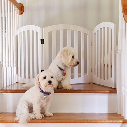 Arf Pets Free Standing Wood Dog Gate, Step Over...