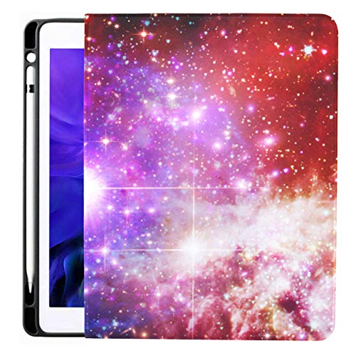 Case for IPad Pro 12.9 Inch (2020/2018 Release) with Pencil Holder, Full-Body Trifold Stand Protective Case Smart Cover with Auto Sleep/Wake, Fascinating Galaxy Nebula Elements This
