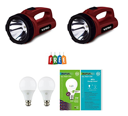 Wipro EMERALD LED Rechargeable Torch [CL0005] Pack of 2 ,Get Free 2 Piece QL 3 Watt LED Bulb