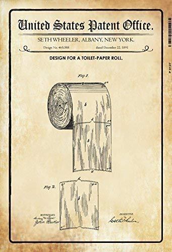 US Patent Toilettenpapier Toilet Paper 1891 Blechschild Schild Blech Metall Metal Tin Sign 20 x 30 cm P0127