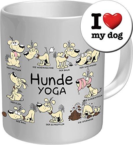 2611 Geburtstag Geschenke-Set Hund: HUNDE YOGA. Premium Geschenk Fischen FischTasse Keramik, Original RAHMENLOS® in Geschenkbox + Button I Love my dog Birthday