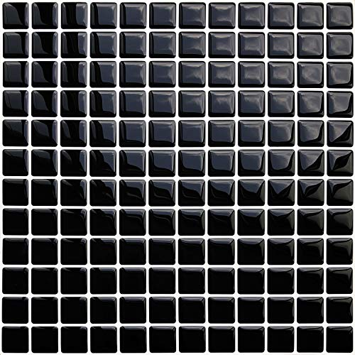 SHINGONE Tile Stickers Peel and Stick Transfers Resistant Backsplash for Kitchen, Self Adhesive 3D Mosaic Style Wall Tiles Bathroom, Black/4pcs