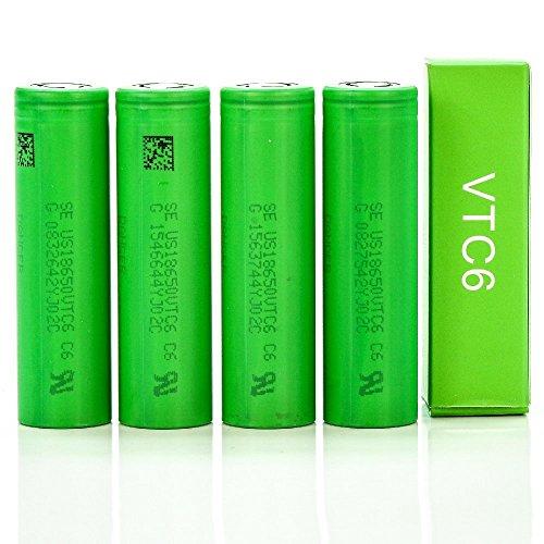 Confezione da 4 pezzi autentici VTC6 ad alto scarico, 3000 mAh, 3,7 V, 30 A, piano piatto, 18 mm x 65 mm, per utensili elettrici ecc.