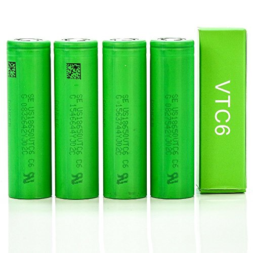 4 Pack of Authentic VTC6, 3000mAh 3.7V 30A, Flat Top,18650-Battery, for Flashlight
