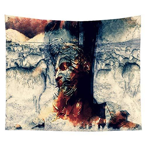 KHKJ Tela para Colgar, Tela de Fondo, Tapiz de Jesús Cristiano, Tela Personalizada para decoración de Dormitorio, Junto a la Cama, A5 95x73cm