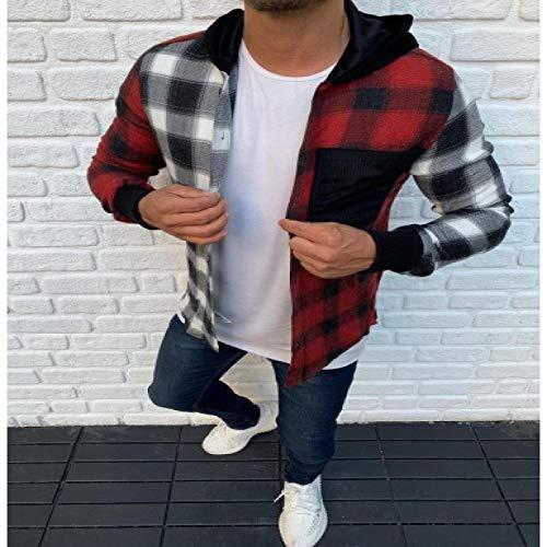 Chaqueta de Punto con Capucha para Hombre Camisa Informal con Botones Abiertos a Cuadros para Hombre M Rojo Blanco