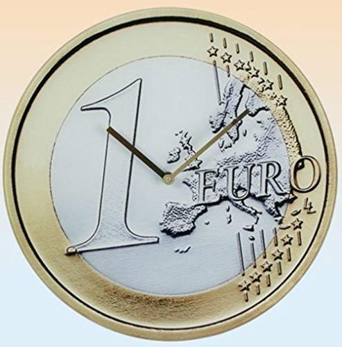 SSITG Glas Uhr 1 Euro Bank Geld Finanzen Wanduhr Glasuhr Geldanlage Europa
