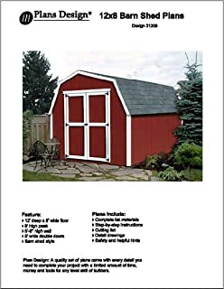 12' X 8'Barn/gambrel Storage Shed Project Plans -Design #31208