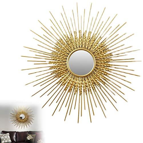 Espejo Sol Dorado Pared Grande, 60cm/70cm/80cm Espejos Sunburst para Decoración de Paredes Gold, Decoración de Espejo de Pared Decorativa para Dormitorio,70cm