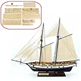 HAPYLY 1/130 Scale DIY Hobby Wooden Ship Science Equipmen Assembly Model Boat Kits Sailing Boat Kit Decor Toy Gift