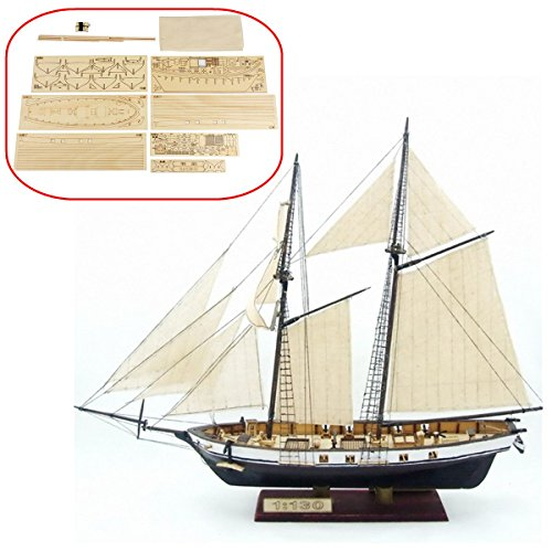 HAPYLY 1/130 Scale DIY Hobby Wooden Ship Science Equipmen Assembly Model Boat Kits Sailing Boat Kit Decor Toy Gift Georgia