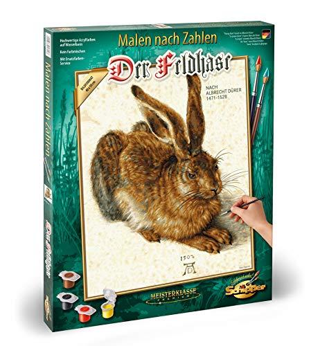 Schipper 609130809 - Malen nach Zahlen - Der Feldhase nach Albrecht Dürrer - Bilder malen für Erwachsene, inklusive Pinsel und Acrylfarben, 40 x 50 cm
