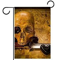 ホームガーデンフラッグ両面春夏庭の屋外装飾 12x18in,ヴィンテージスカルナイフローズラブハート
