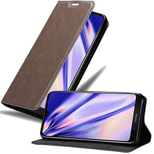 Cadorabo Hülle für Nokia 3.2 in Kaffee BRAUN - Handyhülle mit Magnetverschluss, Standfunktion & Kartenfach - Hülle Cover Schutzhülle Etui Tasche Book Klapp Style
