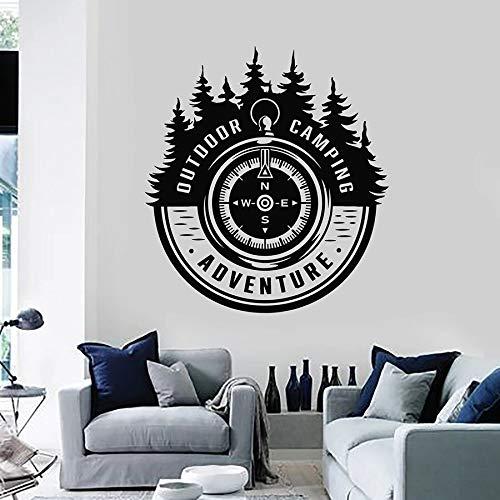 sanzangtang Murale di Arte della Parete della Foresta della Bussola di Campeggio di Avventura di Viaggio all'aperto della Decalcomania della Parete dell'albero di Abete,