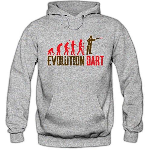 Shirt Happenz Dart Evolution #1 Hoodie | Dartkönig | Pfeil | Dartworld | Herren | Kapuzenpullover, Farbe:Graumeliert (Greymelange F421);Größe:M