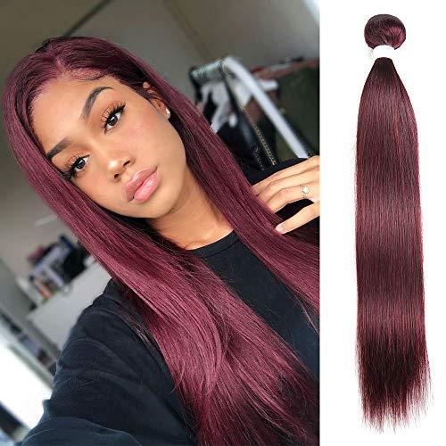 X-tress Brazilian Remy Hair Red Wine 99J Bundle Straight Maroon Hair Weave Human Hair Extension 100% Virgin Human Hair Weave Red (22 Inch)