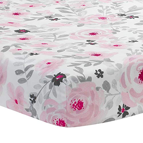 Bedtime Originals Blossom Pink Gray Watercolor Floral Baby Fitted Crib Sheet