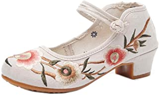 Aiweijia Ladies Solid Color Buckle Floral Pattern Heeled Embroidered Shoes