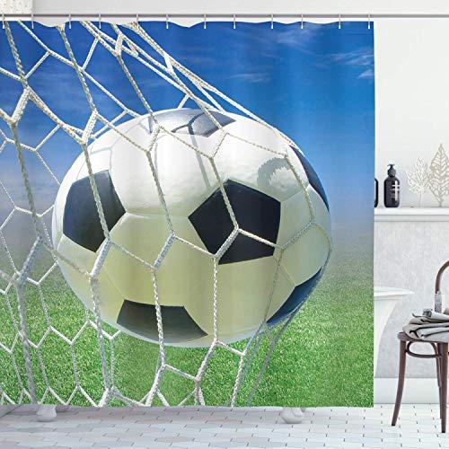 Decoración deportiva, red de portería de fútbol, juegos de fútbol, diseño de foto, bola de cielo para adolescentes y niños, cortina de ducha de tela, 72 pulgadas de largo