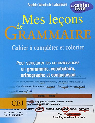 Mes leçons de Grammaire CE1: Cahier à compléter et colorier pour structurer les connaissances en grammaire, vocabulaire, orthogra