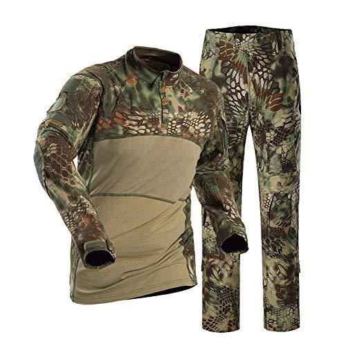 Herren Tactical Suit Combat Hemd und Hose Set Langarm Ripstop Multicam Airsoft Bekleidung Woodland BDU Jagd Military Uniform-1-M