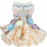 ペットのウェディングドレス、犬のイブニングドレス三次元の花の装飾多層メッシュふわふわスカート結婚式の写真祭りパーティーに適して,M