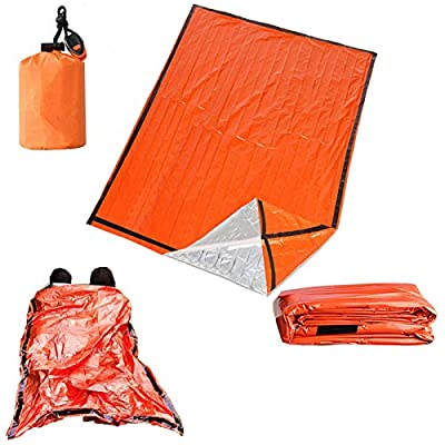Ninth C 2-Person Emergency Sleeping Bag, Ultra Lightweight Waterproof Thermal Bivy Sack Cover, XL Emergency Shelter Survival Kit for Hiking Outdoor Camping … (2-Person)