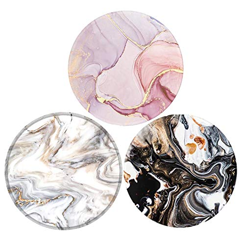 Mouse Pad,Anti Slip Rubber Round Mousepads Desktop Notebook Mouse Mat with Stitched Edge for Working and Gaming (Black Grey Pink Marble 3pack)