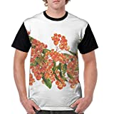 Man's T Shirts,Hand Painted Border Full of Rowan Berries Vintage Style Watercolor Flora XXX-L